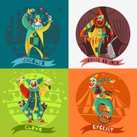Circus Clowns 4 Icons Square Concept