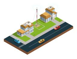 Comunicación inalámbrica de la ciudad composición isométrica