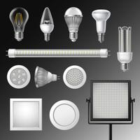 Realistic Led Lamps Set