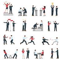 Business Confrontation People Flat Icons Set