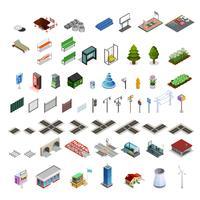City Map Constructor Isometric Elements Collection  vector