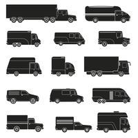 Conjunto de monocromático de caminhões de entrega