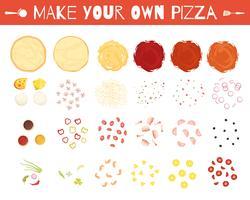 Pizza-Elemente-Karikatur-Art-Satz
