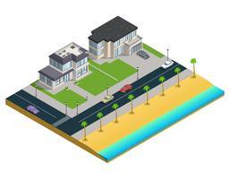 Composición isométrica de la casa suburbana
