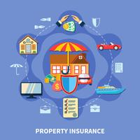 Concetto piatto di protezione della proprietà