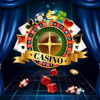 Casino Night Games Symbols Composition Poster