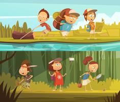 Kids Camping Banners Set