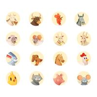 Colección de iconos redondos cabezas de animales de granja