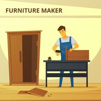 Carpenter Assembling Furniture Flat Poster