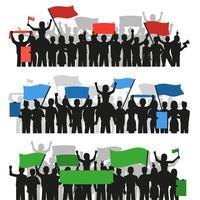 Banners de multidão de pessoas protestando