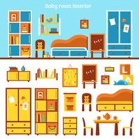 Infografia de mobília de quarto de bebê