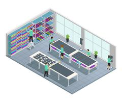Clothes Factory Isometric Composition