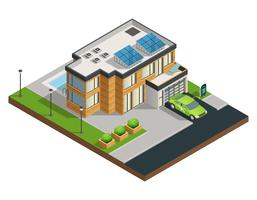 Ilustración isométrica de la casa ecológica verde