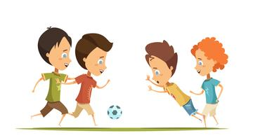 Boys Playing Soccer Cartoon Style Illustration