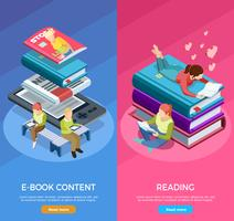 Isometric Vertical Reading Banner Set