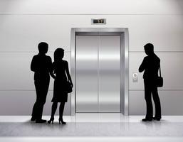 Silhouettes attendant l'ascenseur