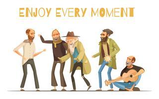 Ilustração de pessoas desabrigadas alegres