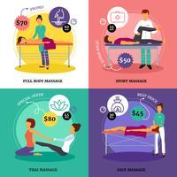 Conjunto de ícones de conceito de massagem
