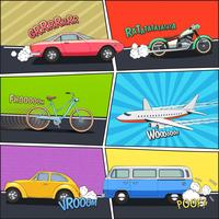 Conjunto de cuadros cómicos de transporte.