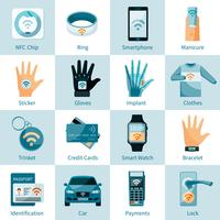 NFC Technology Icons Set Flat Style