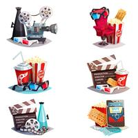 Set Of 3d Cartoon Cinema Design Concepts