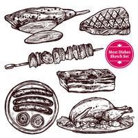 Conjunto de pratos de carne