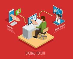 Modello isometrico di assistenza sanitaria digitale online