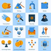 Virtual Currency Icons Set Flat Style