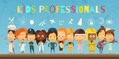 Kids in Costumes Of Professionals Cartoon Composition