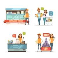 People in Supermarket Cartoon Icons Collection