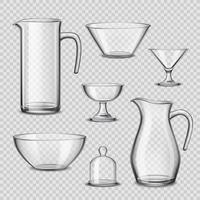 Realistic Glassware Kitchen Utensils Transparent Background