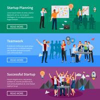 Startup People Flat Banners Set