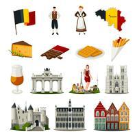 Conjunto de iconos de estilo plano de Bélgica