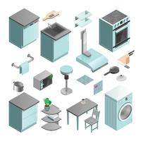 Kitchen Interior Isometric Icons Set