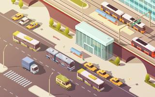Ilustración isométrica del transporte urbano