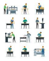 Houtbewerking Carpenter Service vlakke pictogrammen collectie