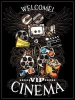 Cartaz do cinema do Doodle vetor