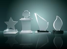 Immagine realistica di riflessione di vetro del fondo dei trofei