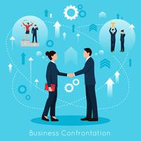 Constructive Business Confrontation Flat Composition Poster
