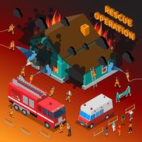 Fireman Isometric Template vector