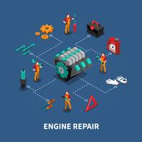 Car Repair Auto Center Isometric Composition