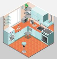 Kitchen Interior Isometric Template