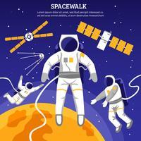 Ilustración plana de los astronautas