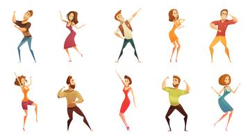 Dancing People Funny Cartoon Icons Set
