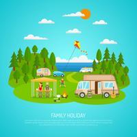 Familj Camping Illustration