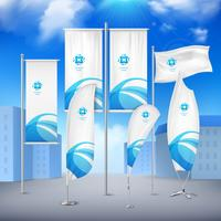 Flag Banners Collection Color Sky Background