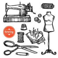 Hand Drawn Sketch Sewing Set