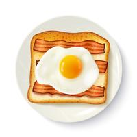 Breakfast Sandwich Top View Realistic Image  vector