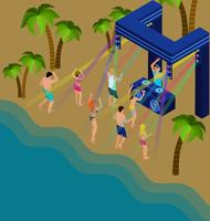 Ilustración de baile en la playa