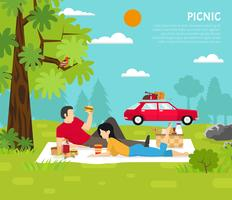 Outdoor Picnic Vector Illustration